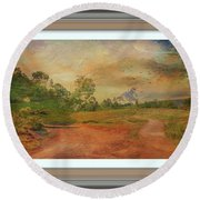 Dusk In The Hills Round Beach Towel