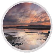Dusky Pink Sunrise Bay Waterscape Round Beach Towel