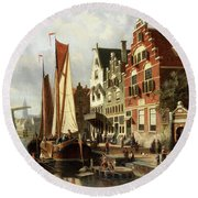 Dutch Canal Scene With Barge Unloading Round Beach Towel