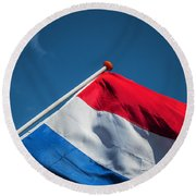 Round Beach Towel featuring the photograph Dutch Flag by Anjo Ten Kate