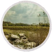 Round Beach Towel featuring the photograph Dutch Landscape. by Anjo Ten Kate