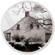Round Beach Towel featuring the photograph Dyckman Farmhouse In Winter by Cole Thompson