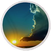 Dying Nebraska Thunderstorms At Sunset 068 Round Beach Towel