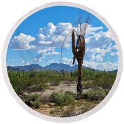 Dying Saguaro In The Desert Round Beach Towel