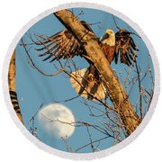 Eagle And Moon  Round Beach Towel