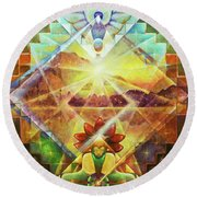 Eagle Boy And The Dawning Of A New Day Round Beach Towel