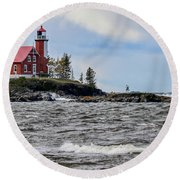 Eagle Harbor Lighthouse Round Beach Towel