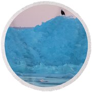 Round Beach Towel featuring the photograph Eagle On Ice Mackinaw City 2261803 by Rick Veldman