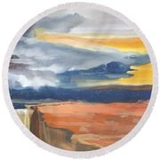 Early Canyon Sky Round Beach Towel