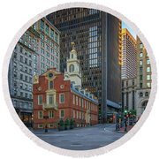 Early Morning At The Old Statehouse Round Beach Towel