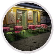 Round Beach Towel featuring the photograph Early Morning, Bar Mimi, Sorrento, Italy  by Tim Bryan