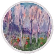 Early Morning In The Forest Round Beach Towel