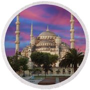 Early Morning Light On  Sultan Ahmet Camii Round Beach Towel