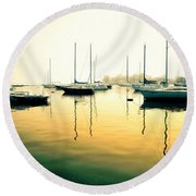 Early Mornings At The Harbour Round Beach Towel