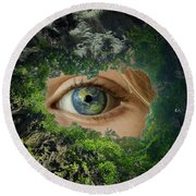 Earth Is Watching You Round Beach Towel