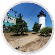 East Chop Lighthouse Marthas Vineyard Round Beach Towel
