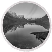 East Glacier St. Mary Spring Sunrise Black And White Round Beach Towel