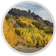 Round Beach Towel featuring the photograph Easy Autumn Rider by James BO Insogna