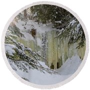 Eben Ice Caves Round Beach Towel