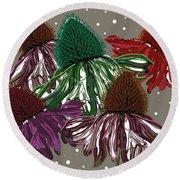 Echinacea Flowers Dance Round Beach Towel