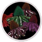 Echinacea Flowers With Black Round Beach Towel