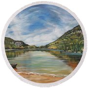Echo Lake Franconia Notch In White Mountain Region Round Beach Towel