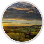 Round Beach Towel featuring the photograph Eden At Sunrise by Fiskr Larsen