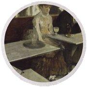 Edgar Degas Dans Un Cafe, Dit Aussi L'absinthe In A Cafe. Date/period 1873. Painting. Round Beach Towel