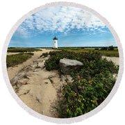 Edgartown Lighthouse Marthas Vineyard Round Beach Towel