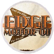 Edge Motor Oil Tin Sign Round Beach Towel