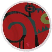 Round Beach Towel featuring the digital art Eggeater by Attila Meszlenyi