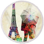 Eiffel Tower And Lovers Colorful Watercolors Round Beach Towel