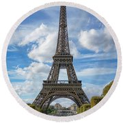 Round Beach Towel featuring the photograph Eiffel Tower by Jim Mathis