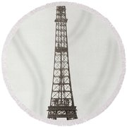 Eiffel Tower, Paris, 12th February And 12th March 1889 Round Beach Towel