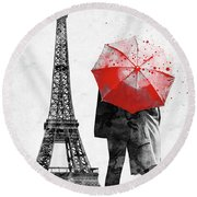 Eiffel Tower With Lovers And Red Umbrella Round Beach Towel