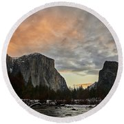 El Capitan At Sunset Round Beach Towel
