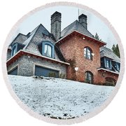 El Messidor Residence In The Argentine Patagonia Round Beach Towel