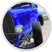 Electric Blue Hot Rod Roadster Round Beach Towel