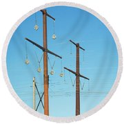 Electric Line Pulleys Round Beach Towel