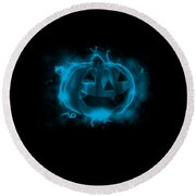 Electric Pumpkin Round Beach Towel