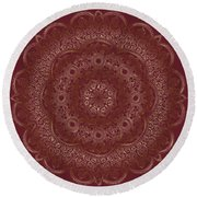 Round Beach Towel featuring the painting Elegant Golden Mandala Buddhist Symbol by Georgeta Blanaru