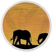 Elephants - At - Sunset Round Beach Towel