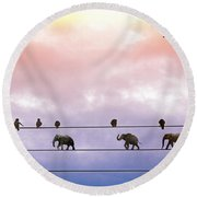 Elephants On The Wires Round Beach Towel