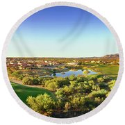 Elevated View Of Golf Course, Sun City Round Beach Towel
