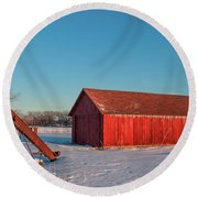 Elevator And Shed Round Beach Towel