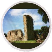 Elgin Cathedral Ruins Painting Round Beach Towel