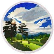 Round Beach Towel featuring the drawing Elk Ridge Twilight by Dan Miller