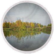 Round Beach Towel featuring the photograph Ellicott Creek Reflections by Guy Whiteley