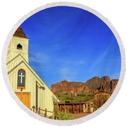 Elvis Chapel At Apacheland, Superstition Mountains Round Beach Towel