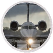 Round Beach Towel featuring the photograph Embraer 145 by Guy Whiteley